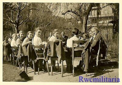 **RARE: German Uniformed Teen BDM Girls Seated at Outdoor Table!!!**