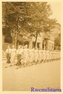 **RARE: German Uniformed Teen BDM Girls Truppe Marching on Road (#1)!!!**