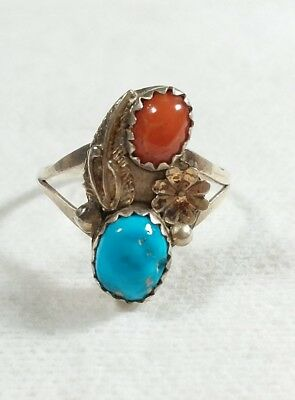 Navajo Signed Nh 925 Sterling Silver Feather Turquoise & Coral Size 7 Ring