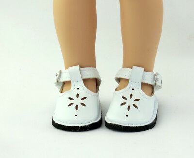 """White Flower Dress Shoes Fits Wellie Wishers 14.5"""" American Girl Clothes Shoes"""