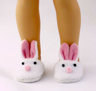 "White bunny Slippers Fits Wellie Wishers 14.5"" American Girl Clothes Shoes"