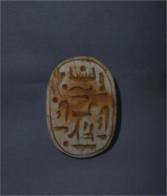 Antique Egypt TOP HIGH AGED ORIGINAL LARGE STONE STEATIT SCARAB WITH GLYPHS