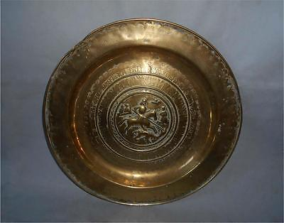 Antique Germany TOP HIGH AGED LARGE MEDIEVAL TO RENAISSANCE BOWL SAINT GEORGE
