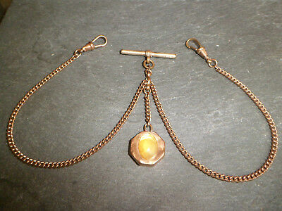 ANTIQUE 18ct ROSE ROLLED GOLD DOUBLE ALBERT POCKET WATCH CHAIN