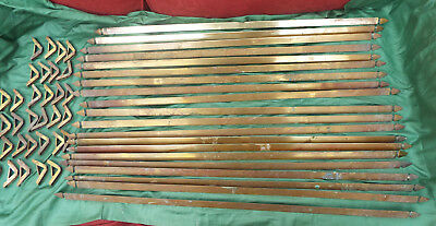 set of 20 antique triangular brass stair rods with clips and fittings for 15