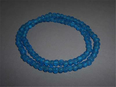 Antique Himalaya India TOP HIGH AGED USED TRIBAL ROUND BLUE GLASS MELON BEADS