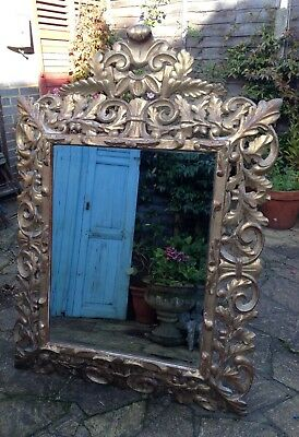 Antique French Elaborate Giltwood Mirror