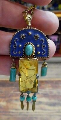 VTG Estate Haskell? Egyptian Revival Bohemian Glass Pendant Necklace As Is