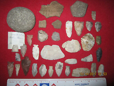 35 Assorted Style Native Points & Tools ( Ne-Mud Lake, Dodge County, Wisconsin )