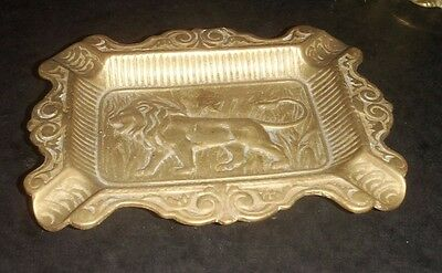Vintage Solid Brass Ashtray - Embossed With A Lion