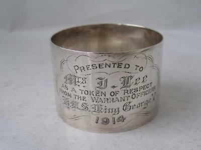"Antique ""HMS King George V"" Solid Sterling Silver Napkin Rings 1913/ H 3.1 cm"