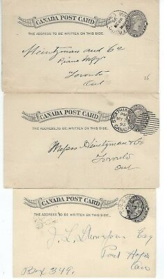 Canada - Small Lot (#4) Of Queen Victoria Used Postal Cards
