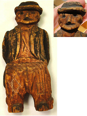 Old Primitive Hand Carved Wood Folk Art Man Figure Antique / Vtg Statue Carving