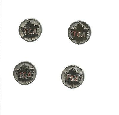 "Aviation Pins: Tca (Transcanada Airlines) Lot Of 4, 7/8"" Diameter, 2 Pins On Bk"