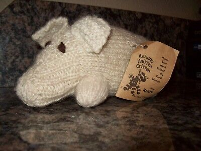 Kenana Knitter Critter Homespun Hand Knitted Kenya Pig Natural Wool Signed