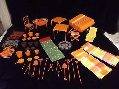 Large Lot of Mattel Barbie Vintage Camping Furniture, Accessories, Trailer