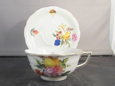 Herend China Footed Tea Cup and Saucer Fruits and Flowers