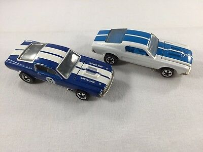 Lot of 2 Hot Wheels Custom Mustang VINTAGE SERIES white and blue