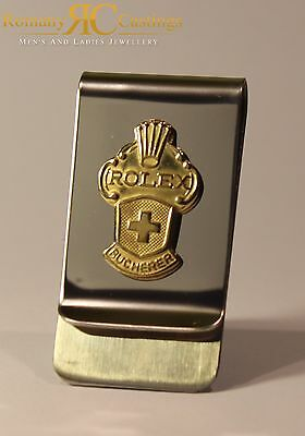 Genuine Rolex Stainless Steel Money Clip from Collectors Spoon 9ct Gold Dipped