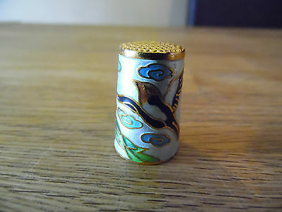 Cloisonne Thimble Decorated With Birds And Flowers