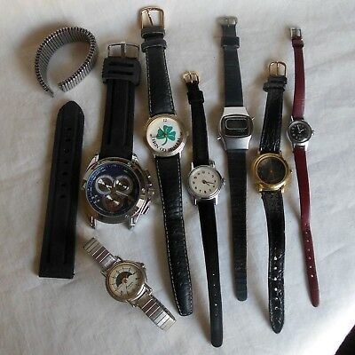 Junk drawer lot of seven wristwatches for parts, repair, to wear