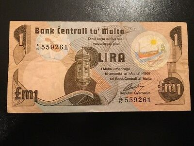 Bank Of Malta One Pound One Lira  Banknote Circulated Condition A/10 559261