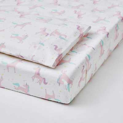 Cot Sheet 3-Piece Set - Unicorn baby nursery girls horses pink white print new