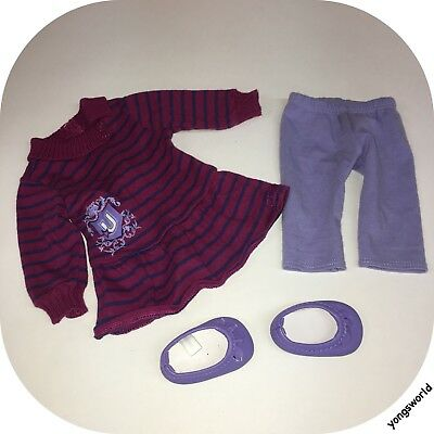 Pleasant Company American Girl 2011 Striped School Dress Outfit Pants Shoes Lot