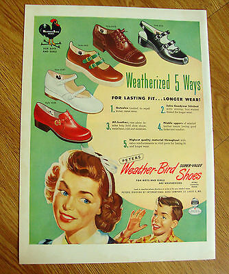 1950 Weather-Bird Shoe Shoes Ad 1950 Boltaflex Plastic Upholstered Material Ad