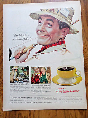 1950 Coffee Ad First Lucky Today Fran's Making Coffee  Fly Fisherman Camping