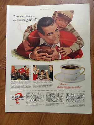 1950 Coffee Ad Football Theme Time Out Johnny Mom's Making Coffee