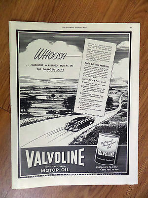 1949 Valvoline Motor Oil Ad  Whoosh without Warning you're in the Danger Zone