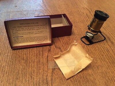 VINTAGE GERMAN MICROSCOPE ALLMIKRO with BOX and SLIDES RARE WOW!! SCIENTIFIC