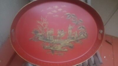 red tole oval tray Chinoiserie
