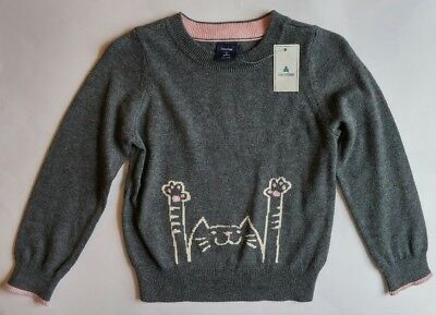Toddler Girl Baby Gap 3T Sweater Cat Gray Pink Pullover Clothes-NWT