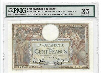 P-86b 1938 100 Francs, Banque de France,  PMG Choice Very Fine 35, Nice!