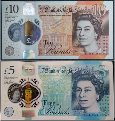 GREAT BRITAIN NEW £10 Pound 2017 plus £5 2016 Set PRE SALE x 2 UNC Banknotes