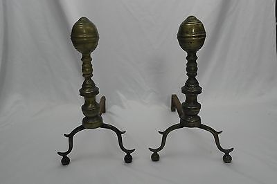 Antique Brass and Iron Fireplace Andirons