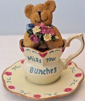 Boyd Bears Missy Teabearie 24318 Miss You Bunches Bear with Flowers In a Cup