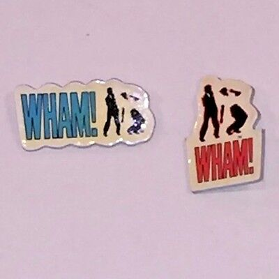 Wham George Michael Lot of 2 Vintage Pins Badges Dancing Rap UK POP New Wave