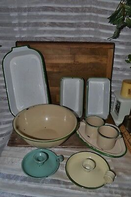 LOT Vintage Enamel white and green pan Cups Bowl Candle holders Roasting Pan