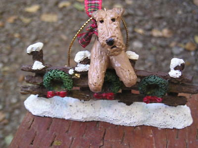 Airedale Terrier CHRISTMAS FENCE  Ornament!