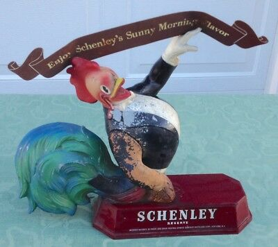 Very Old & Rare Schenley Whiskey Reserve Metal Rooster Store Display