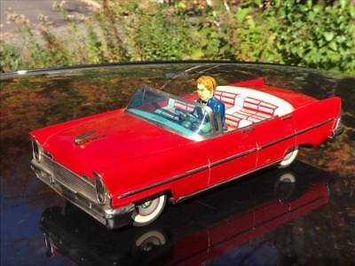 Rare 1957 Lincoln Premiere Convertible Tin Friction Toy Ichiko Japan With Driver