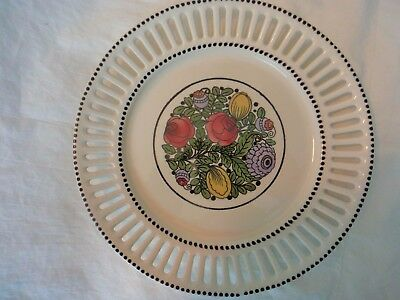 Plate with Pierced Rim Floral Black Dots Made in Germany