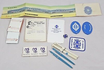 Lot of Vintage Santa Fe Railroad Items Patch, Pens, Coin Holder, Note Pad & More