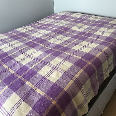 Vintage Wool Blanket Plaid Bed Retro Cottage Country Farmhouse Bedspread