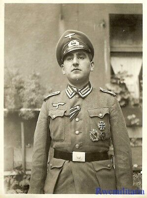 Port. Photo: HIGHLY DECORATED Wehrmacht Feldwebel Posed w/ Combat Awards!!!