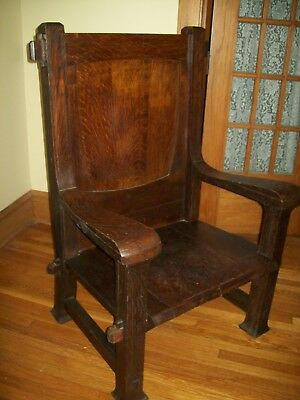 Unique Vintage Oak Gothic Throne Chair Arts & Crafts Mission Style, Haunted