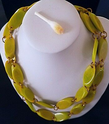 Stunning Vintage Bakelite Green Yellow Flat Beaded Necklace Retro Tested Jewelry